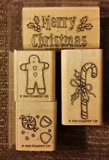 Stampin' Up GINGERBREAD CHRISTMAS Set of 4 Mounted Rubber Stamps Lot Candy Cane