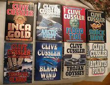 LOT: 8 CLIVE CUSSLER DIRK PITT SERIES BOOKS, HBw/DJ, 1st Ed 1st Print, VG++