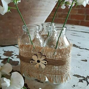 3 Bottle Vases Trio in Hessian - Rustic Shabby Chic Table Decor Bud Vase