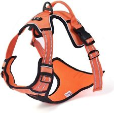 Dog Harness Orange Soft Padded Pet Harness for Large Dogs Adjustable Chest and B