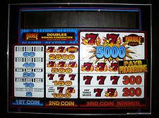 Las Vegas VINTAGE LARGE SLOT MACHINE PANEL GLASS ~ BALLY 777 DOUBLE JACKPOT 1997
