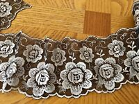 """Silver Floral Embroidered Ribbon Border Lace Trim for Sewing/ Crafts/ 3.5"""" Wide"""