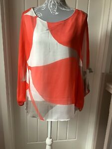Phase Eight Silk  Mulicoloured Batwing Overlay Top Size L Worn Once