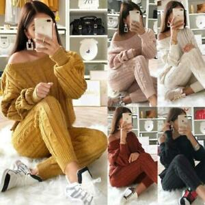 Women's Cable Knitted Baggy Two Pieces Lounge Wear Casual  Ladies Suit Tracksuit