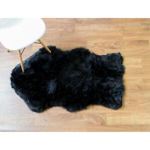"Super Soft Faux Sheepskin Rug Black Furry Accent Rug,2' 6"" x 4' Shaped"