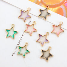 10Pc Enamel Pentagram Star Colorful Charms Alloy Pendant DIY Bracelet Necklace