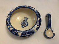 David Francke Pottery Fish Blue & White Ceramic Bowl With Spoon Signed By Artist