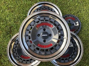 "Compomotive Turbo-Mag Magnesium Split Rims 8.5 & 9.0x15"" 4x100 Radinox, Rare, VW"