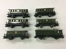 SET of 6  used Marklin 4040 . 4003 Passenger Tin Cars for Modeltrain H0