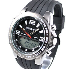 Henley Mens Analogue-Digital Chronograph Sports EL Watch & Black Silicone Strap