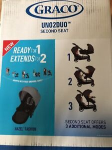 New Graco Uno2Duo Second Stroller Seat HAZEL  FASHION add on seat to stroller.