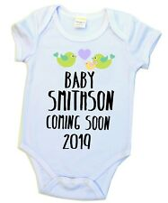 Pregnancy Announcement Birth Reveal Baby Bodysuit Romper Due Arrival