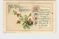PPC POSTCARD NEW YEAR GREETINGS POEM HOLLY WISH BONE WINSCH GOLD EMBOSSED
