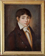 PORTRAIT ROMANTIQUE 1810 TABLEAU ANCIEN DEBUT XIXeme HUILE SUR TOILE
