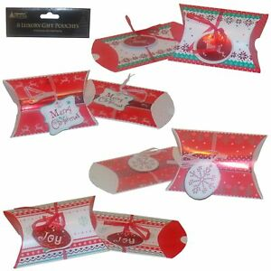 16 x Red, White and Green Christmas Gift Wrap Pouches with Tags