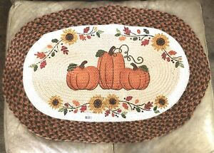 """Country Pumpkin Oval Braided 100% Jute Burlap Rug 20"""" x 30"""" By DII Made In India"""