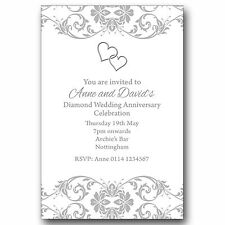 10 Personalised Party Invitations 60th Diamond Wedding Anniversary M131