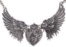 Vintage Angel Wings corazón alas Heart retro Collier rockabilly