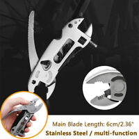 Multi-Function Stainless Pliers Tool Wrench Screwdriver Saw Camping Silver Grey