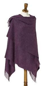 Lambswool Mini Ruana Shawl - Plain Purple or Camel - British Made by Bronte