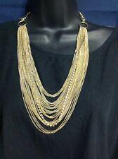 Beautiful  EFM Signed Gold Tone  Multiple Chain And Rhinestone Necklace