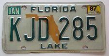 Florida 1987 LAKE COUNTY License Plate HIGH QUALITY # KJD 285