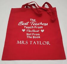 Personalised Teacher Tote bag  Red, Black, Green, blue Gift Christmas present