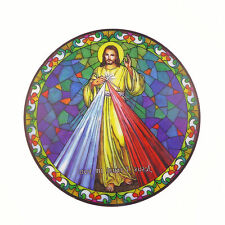 "Divine Mercy suncatcher stained glass window sticker reusable 6"" sun catcher"