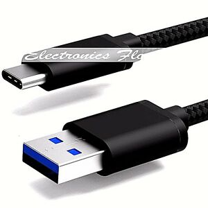 1FT - Nylon Braided Rope USB-C Type-C Data Sync Charger Charging Cable BLACK