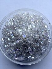 20g clear rainbow square seed beads - stock in Australia # W17 - 0.3 x 0.35cm