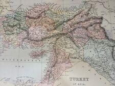 1891 Turkey in Asia Original Antique Map Syria Lebanon Palestine Ottoman Empire