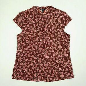 BAUKJEN Womens Button Up Blouse UK10 Burgundy Cap Sleeve Fruit Print Portugal