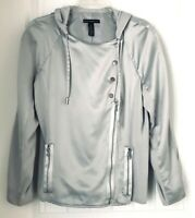 Black Label by Chico's Gray  Womens 1 Long Sleeve Poly Hooded Lightweight Jacket