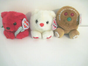 "Swibco Puffkins  Lot of 3. Jangles, Hugs and Spice 5"" Stuffed Plush Beanies  NWT"