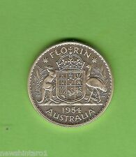 #C18. QUALITY 1954 AUSTRALIAN SILVER FLORIN TWO SHILLING COIN
