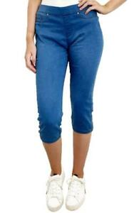 Ladies Pull On Blue Pants Crop Jeggings Holiday Trousers Cropped Jeans