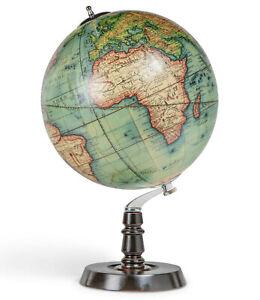 "Vaugondy French World Globe 1745 Antiqued Wooden Stand 19.7"" Tabletop Desk Decor"