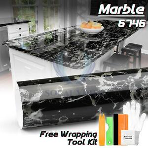 *Premium Gloss Black Marble Granite Look Vinyl Contact Paper Home Kitchen #6746