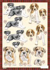 Craft UK A4 Die Cut Decoupage Sheet Line 618 - DOGS Collie, Spaniel & Bulldog
