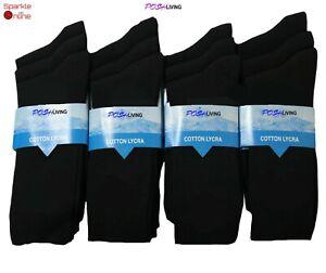 60 Pairs Men's Plain Black Cotton Rich Casual Socks UK 6-11 WHOLESALE JOB LOT