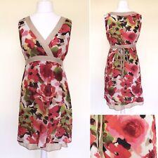 S. Oliver Vestido Cuello en V Floral Reino Unido 12 Algodón Seda Tie Back Forrado Boda Formal