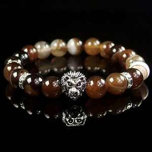 10mm Natural Gemstone Beads Lion Stretchy Reiki Chakra Energy Stone Bracelet