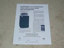 Klipschorn Klipsch Ad, 1976,  X-3 Speaker Info, 1 pg