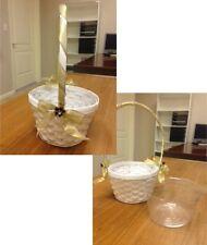 8 White woven Wicker Baskets Golden lace handle & bow w/burgundy flower diamond