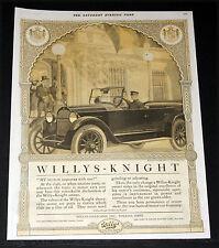 1920 OLD MAGAZINE PRINT AD, WILLYS-KNIGHT AUTOMOBILE, SLEEVE VALVE MOTOR, ART!
