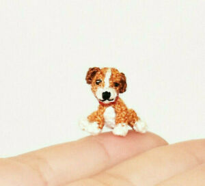 """Extremely Micro Dog 0.6"""" Puppy Dollhouse Miniature Dog Crochet Doll Pet Toy Gift"""