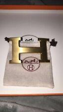 buckle H Hermés Boucle de ceinture embrossed steal 32 mm. Acier brossé Gold Or