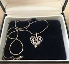 STERLING SILVER CELTIC HEART NECKLACE WITH SHAMROCK - FINE ITALIAN CHAIN