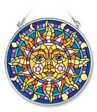 "AMIA STAINED GLASS SUNCATCHER 4.5"" ROUND CELESTIAL MOSAIC SUN   #5451"