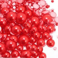 800 Pcs Red Color Flatback Half Faux Pearls Beads DIY Crafts Nail Art